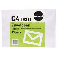 WS Envelope E31/C4 White Peel & Seal 25 Pack