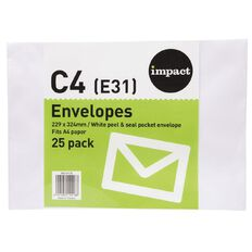 WS Envelope E31/C4 White Peel & Seal 25 Pack