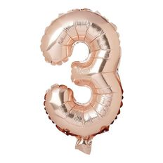 Artwrap Party Foil Balloon Number 3 Rose Gold 35cm