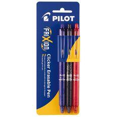 Pilot- Frixion Erasable Pen Clicker Assrtd Fine 0.7mm 3pk