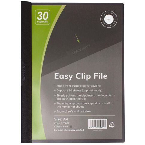 Office Supply Co Easy Clip File 30 Capacity Black A4