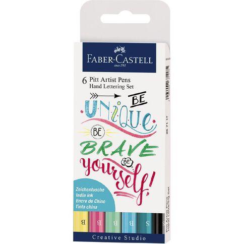 Faber-Castell Pitt Artist Pens Hand Lettering Set Pastel 6 Pack