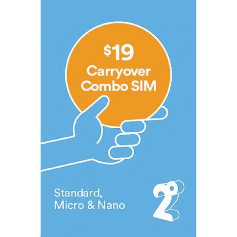 2degrees $19 Carryover Combo SIM Blue