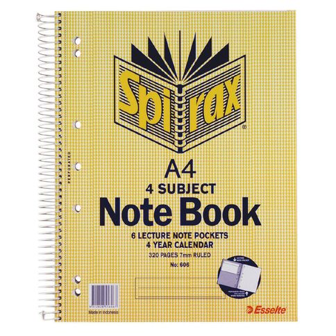 Spirax 4 Subject Book 7mm 160 Leaf Yellow A4