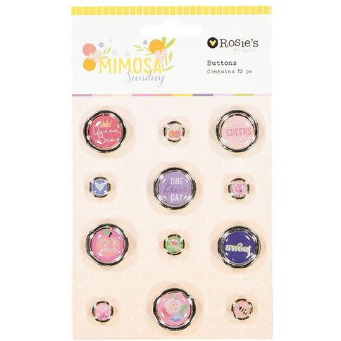 Rosie's Studio Mimosa Sunday Buttons Gold 12 Piece