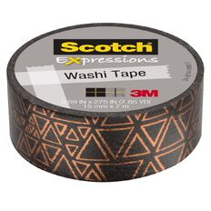 Scotch Washi Tape 15mm x 7m Foil Black With Copper Triangles