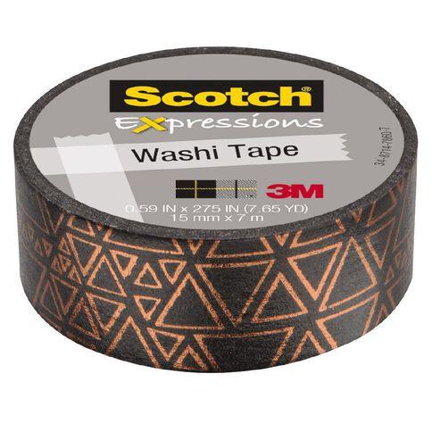 Scotch Washi Tape 15mm x 7m Foil Black With Copper Triangles
