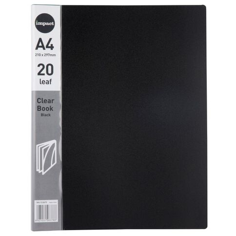 Impact Clear Book 20 Leaf Black A4