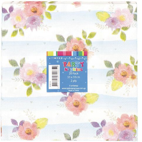 Artwrap Printed Napkins Floral Stripes 2 ply 33cm x 33cm 20 Pack