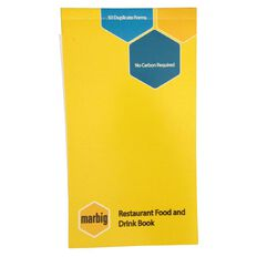 Marbig Restaurant Order Book 50 Leaf Yellow