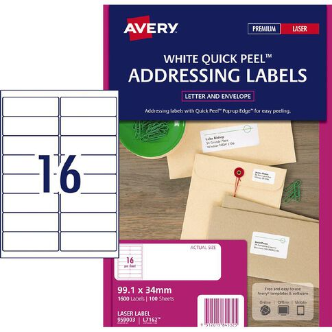avery laser labels l7162 16 pack 100 warehouse stationery nz