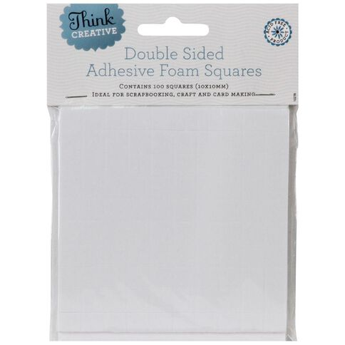 Think Creative 3D Foam Squares Large 10 x 10mm 100 Pack