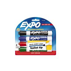 Expo Dry Erase Whiteboard Marker Bullet Tip Business Assorted 4 Pack