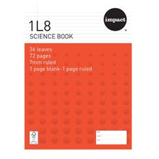 Impact Exercise Book 1L8 Science Book 7mm Ruled 36 Leaf Red