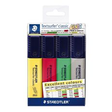 Staedtler Textsurfer Classic  Highlighter Pack of 4 - Assorted Colours