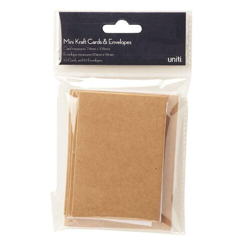 Uniti Cards & Envelopes Mini Kraft Brown 10 Pack