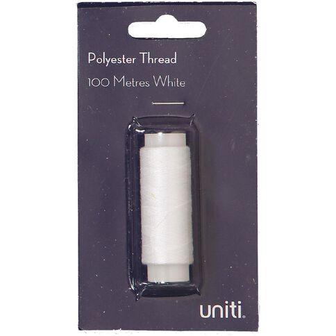 Uniti Polyester Thread White 100m