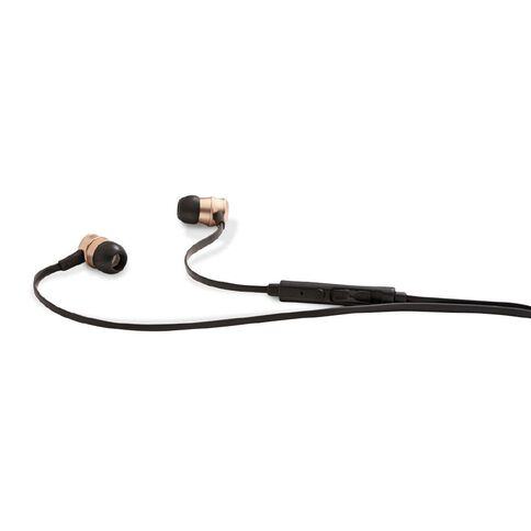 Tech.Inc Metallic Earbuds with Mic and Volume Control Rose