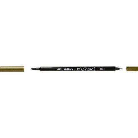 MARVY Le Plume II Dual Tip Marker Olive Brown