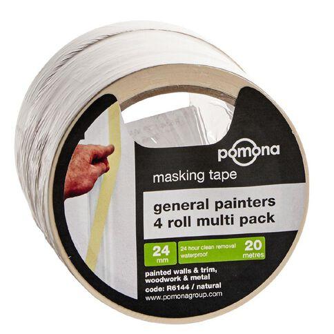 Pomona General Purpose Masking Tape 24mm x 20m White 4 Pack