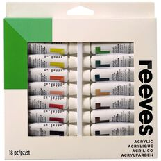 Reeves Acrylic Paint Set Tubes 12ml 18 Pack Multi-Coloured