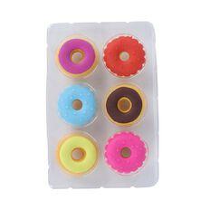 Kookie Novelty Eraser Set Scented 6 Pack Donuts Multi-Coloured