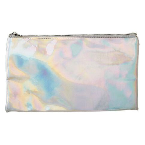 Warehouse Stationery Flat Pu Pencil Case Iridescent