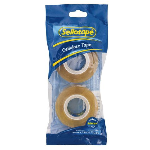 Sellotape Cellulose Tape 18mm x 33m 2 Pack Clear