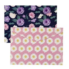 Uniti Blossom Document Wallet 2 Pack Floral Navy & Pink A4