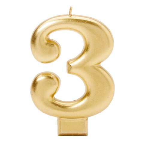 Candle Metallic Numeral #3 Gold