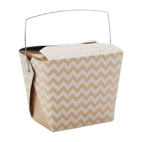 Artwrap Noodle Box Kraft White Chevron 4 Pack