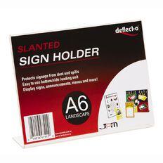 Deflecto Sign/Menu Holder Slanted Landscape Clear A6