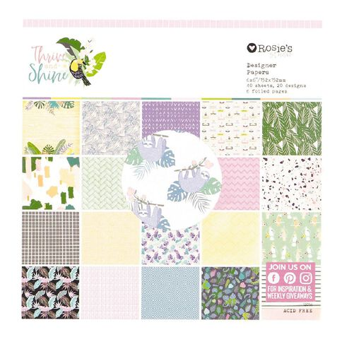 Rosie's Studio Thrive and Shine Paper Pad 40 sheet 6in x 6in