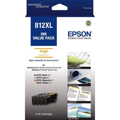 Epson Ink 812XL Value 4 Pack (1100 Pages)