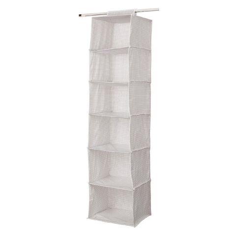 Living & Co Wardrobe Organiser 6 Pocket White