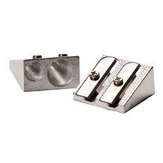 Sharpener Metal Twin Silver 2 Pack