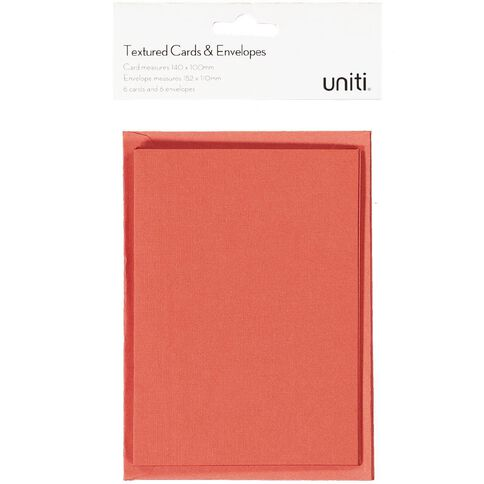 Uniti Christmas Cards & Envelopes Textured Red 6 pack