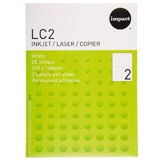 Impact Labels 20 Sheets A4/2 White