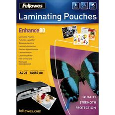 Fellowes Laminating Pouches A4 80 Micron 25 Pack Clear