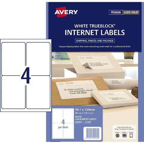Avery Internet Shipping Labels 10 Pack 4 Per Sheet
