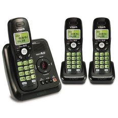Vtech CS6124-3 Cordless Phone Triple Black