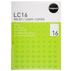 Impact Labels 20 Sheets A4/16 White