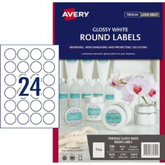 Avery Glossy Round Labels White 40mmdiameter 240 Labels