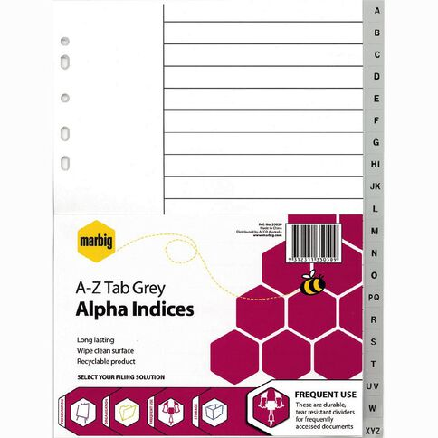 Marbig Alpha Indices A4 Grey A-Z 20 Tab