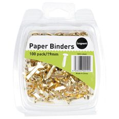 WS Paperbinders 19mm 100 Pack Brass