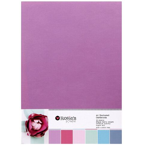 Rosie's Studio Value Cardstock Textured 216g 30 Pack Pastel A4