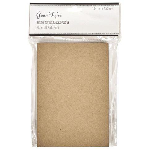 Grace Taylor Envelopes 50 Pack Kraft