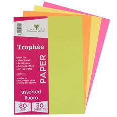 Trophee Paper 80gsm 30 Pack Fluoro Assorted A4