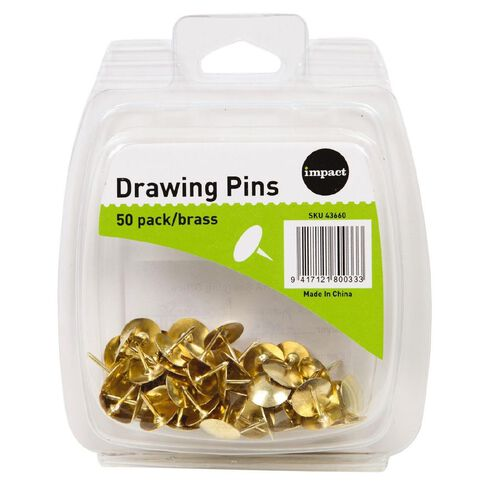 Impact Drawing Pins 50 Pack Brass