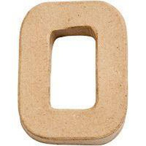 Paper Mache Alphabet Small Symbol O 10cm Brown